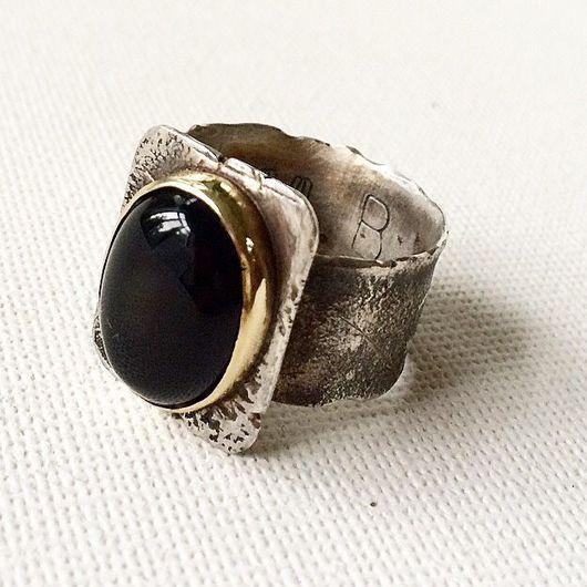 Кольца ручной работы. Ярмарка Мастеров - ручная работа. Купить Кольцо с черным агатом.. Handmade. Ручная работа, кольцо с камнем