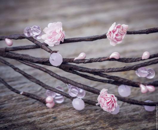 Свадебные украшения ручной работы. Ярмарка Мастеров - ручная работа. Купить Маленькие розовые цветочки. Handmade. Розовый, веночек с цветами