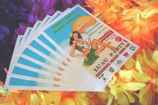 Пригласительные ручной работы. Ярмарка Мастеров - ручная работа. Купить ALOHA! HAWAII! .. приглашение на гавайскую вечеринку. Handmade. Aloha