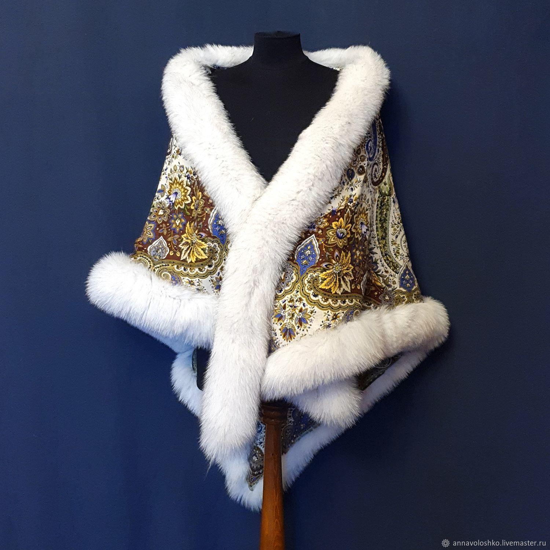 Shawl with fur Highlight, Shawls1, Moscow,  Фото №1