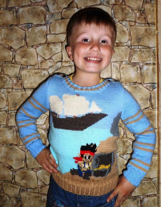 """Одежда для мальчиков, ручной работы. Ярмарка Мастеров - ручная работа. Купить Вязаный свитер """"В поисках сокровищ"""". Handmade. Разноцветный"""