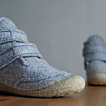 Footwear handmade. Livemaster - original item Women`s grey shoes with Velcro fasteners Eco style. Handmade.