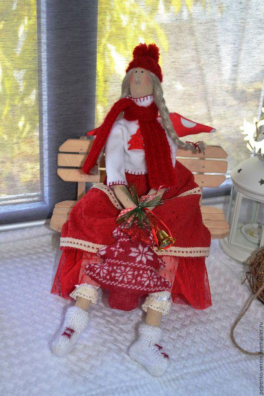 Куклы Тильды ручной работы. Ярмарка Мастеров - ручная работа. Купить Рождественская феечка. Handmade. Ярко-красный