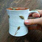 Посуда ручной работы. Ярмарка Мастеров - ручная работа кружка с листьями. Handmade.