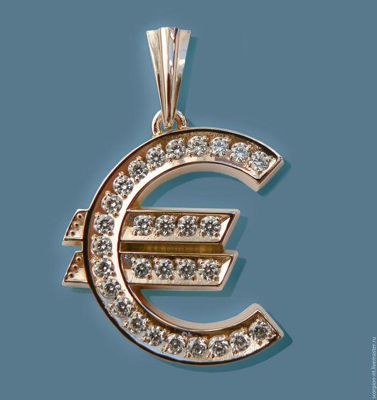 Подвеска Евро (похоже символ нового года)) ) золото 585 пробы, фианиты (кубик циркония) диаметр 2 мм.. Высота знака 26 миллиметров, общая высота 37 миллиметров, ширина 24 миллиметра. Просвет петельки