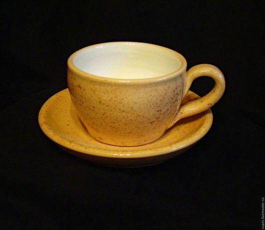 Кружки и чашки ручной работы. Ярмарка Мастеров - ручная работа. Купить Кофейная пара. Handmade. Бежевый, глина, белая глина