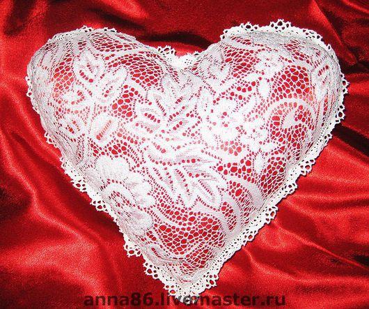 """Текстиль, ковры ручной работы. Ярмарка Мастеров - ручная работа. Купить Подушка """"ажурное сердце"""". Handmade. Подушка, сердечко"""