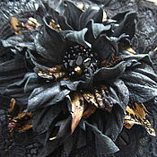 Украшения handmade. Livemaster - original item Leather flowers. Decoration brooch hairpin BLACK.GOLD. Handmade.