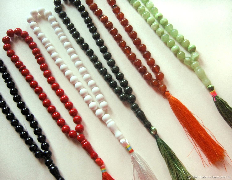 ROSARY made of natural stone, 33 beads, silk brush, Rosary, Asha,  Фото №1
