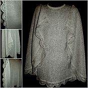 Одежда handmade. Livemaster - original item 100% linen Poncho