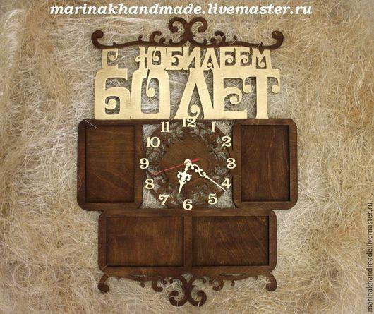 Часы для дома ручной работы. Ярмарка Мастеров - ручная работа. Купить Часы с фоторамками. Handmade. Коричневый, орех, часы, фоторамка