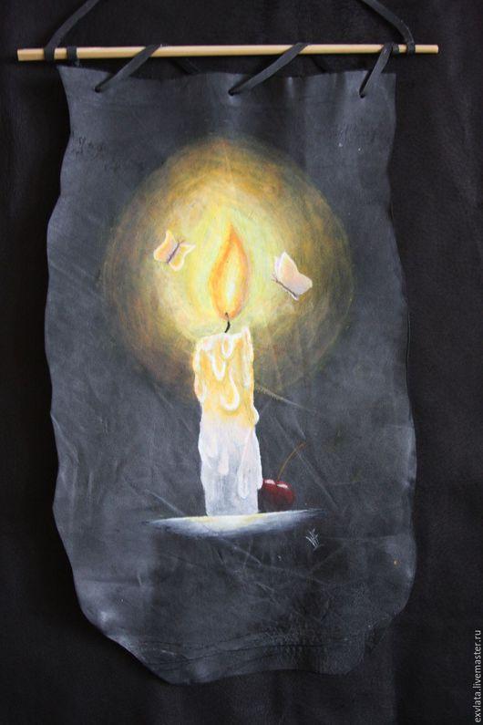 """Натюрморт ручной работы. Ярмарка Мастеров - ручная работа. Купить Картина на коже """"СВЕЧА ГОРЕЛА.."""". Handmade. Картина"""