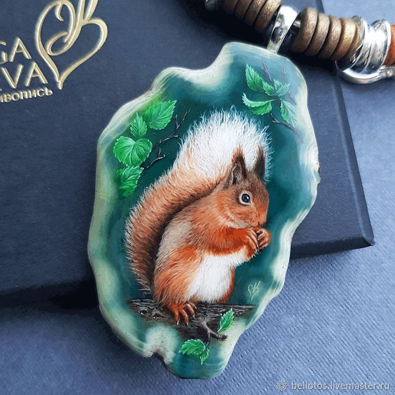 Belki-jewelry painting on stone, Pendant, Moscow,  Фото №1