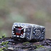 Украшения handmade. Livemaster - original item Men`s silver ring with a stone with a personal message. Handmade.