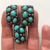 Винтаж ручной работы. Ярмарка Мастеров - ручная работа винтажные серебряные серьги,кольцо с бирюзой. Handmade.