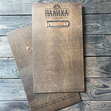Канцелярские товары ручной работы. Ярмарка Мастеров - ручная работа Планшет из дерева с логотипом и контактами для меню А4. Handmade.