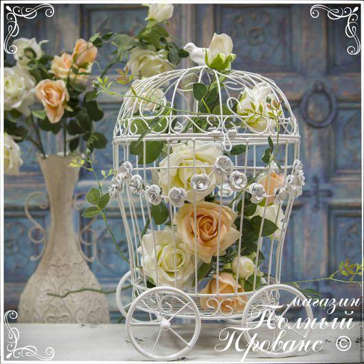 Материалы для флористики ручной работы. Ярмарка Мастеров - ручная работа. Купить Клетка Свадебная карета в розах, белая 36800. Handmade.