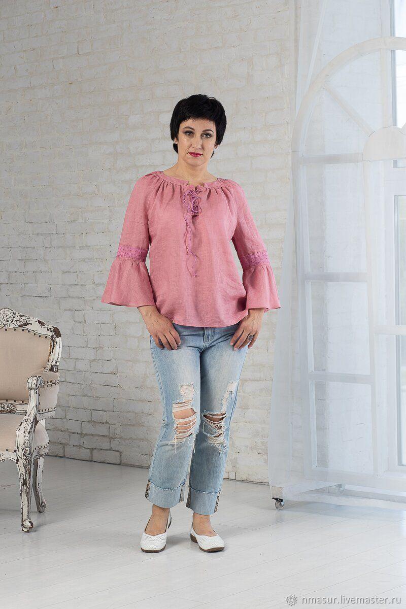 Блузки ручной работы. Ярмарка Мастеров - ручная работа. Купить Льняная блузка с кружевом и шнуровкой пыльная роза. Handmade.