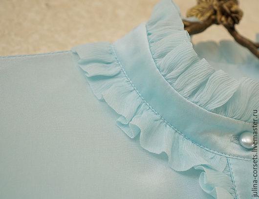 """Блузки ручной работы. Ярмарка Мастеров - ручная работа. Купить Блузка шелковая """"Под небом голубым"""". Handmade. Голубой, бирюза"""