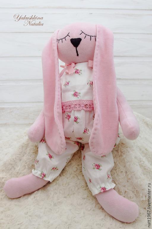 Игрушки животные, ручной работы. Ярмарка Мастеров - ручная работа. Купить Зайка-сплюшка розовая. Handmade. Розовый, зайка игрушка