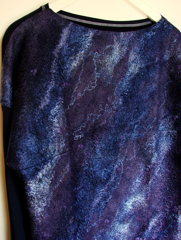 """Блузки ручной работы. Ярмарка Мастеров - ручная работа. Купить Джемпер """"Стихия"""". Handmade. Синий, модный джемпер, меринос"""