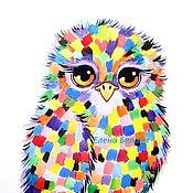 Картины и панно ручной работы. Ярмарка Мастеров - ручная работа Картина акварелью Совушка радужная разноцветная. Handmade.