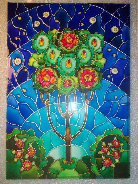 """Картины цветов ручной работы. Ярмарка Мастеров - ручная работа. Купить Роспись по стеклу """"Древо жизни"""". Handmade. Дерево жизни"""