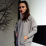 Одежда handmade. Livemaster - original item Beige sweater, plus size sweater, long sweater with pockets. Handmade.
