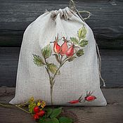 Sets handmade. Livemaster - original item Linen bag with painting... Sprig of rose hips..... Handmade.