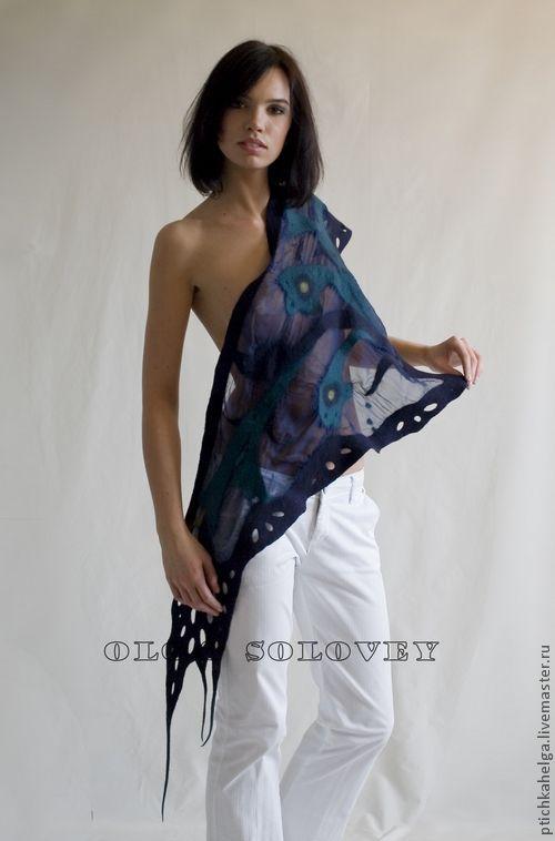 Шали, палантины ручной работы. Ярмарка Мастеров - ручная работа. Купить шарф-косынка  НОЧЬ. Handmade. Тёмно-синий, цветы