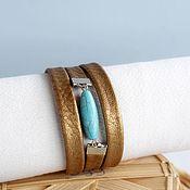 Украшения handmade. Livemaster - original item Bracelet dark gold turquoise-gold leather. Handmade.