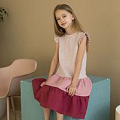 Одежда детская handmade. Livemaster - original item Linen dress for girls with flounces in pink tones. Handmade.