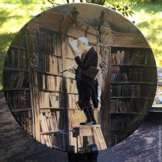 """Винтажные предметы интерьера. Ярмарка Мастеров - ручная работа. Купить Тарелка """"Книжный червь"""". Handmade. Фарфор, библиотека, книги, стиль"""
