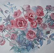 """Картины и панно ручной работы. Ярмарка Мастеров - ручная работа Акварель """"Розовая композиция"""". Handmade."""