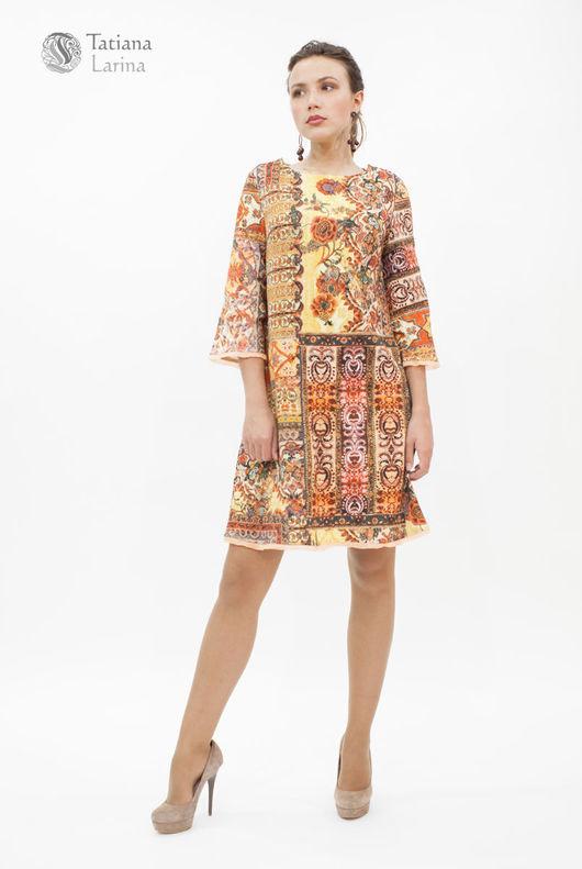 Нарядное платье из хлопкового жаккарда. Платье в стиле 60-х длиною до колена. Платье их хлопка и шелка. Яркое платье для девушки.