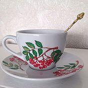 """Посуда ручной работы. Ярмарка Мастеров - ручная работа Чайная пара """"Снегирь и рябина"""". Handmade."""