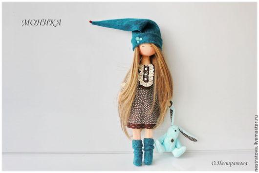 Коллекционные куклы ручной работы. Ярмарка Мастеров - ручная работа. Купить Сонная гномочка Моника.Текстильная кукла.. Handmade. Бирюзовый