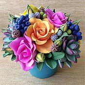 Букеты ручной работы. Ярмарка Мастеров - ручная работа Букет ярких роз из полимерной глины. Handmade.