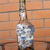 """Для дома и интерьера ручной работы. Ярмарка Мастеров - ручная работа Декоротивная бутылка """"Голубое послание"""". Handmade."""