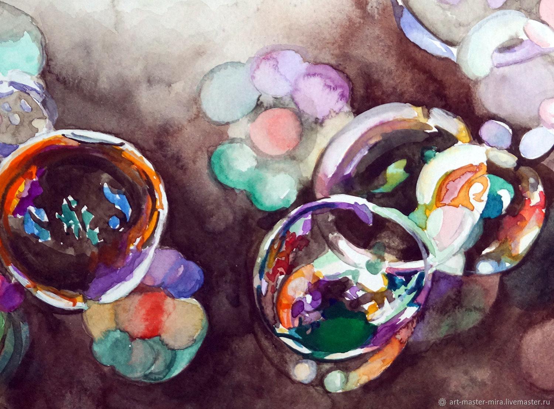 """Картина акварель, миниатюра, коричневый. """"Мыльные пузыри"""", Картины, Севастополь,  Фото №1"""