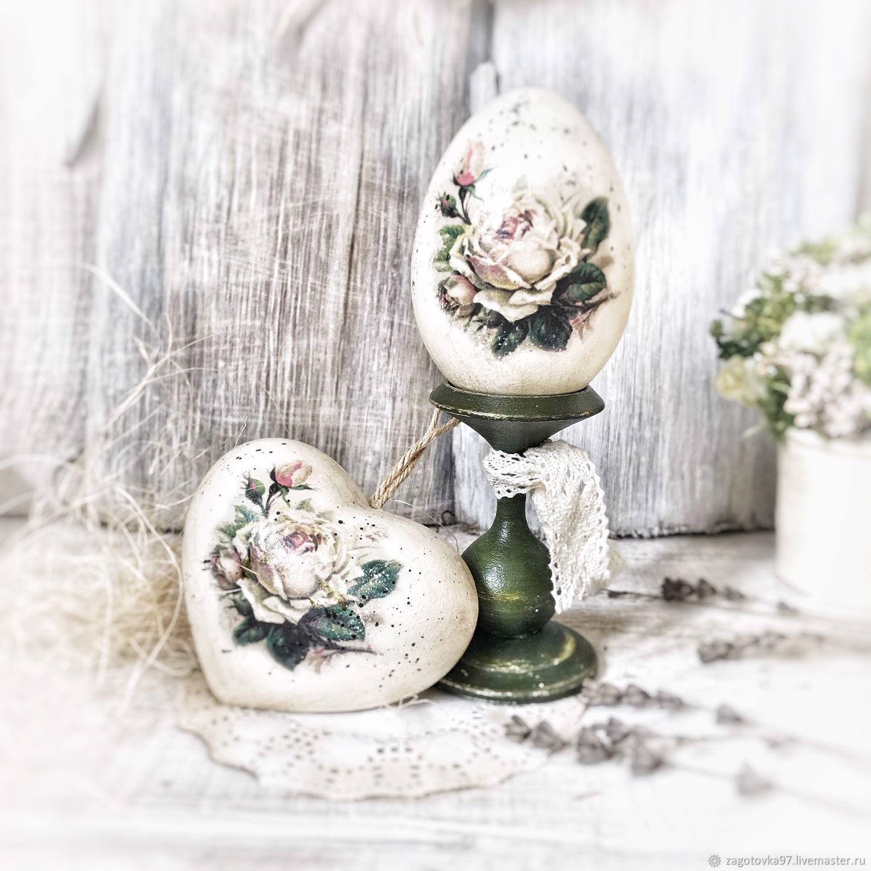 """Пасхальное яйцо и сердечко """"Розовый шарм"""", Елочные игрушки, Москва,  Фото №1"""