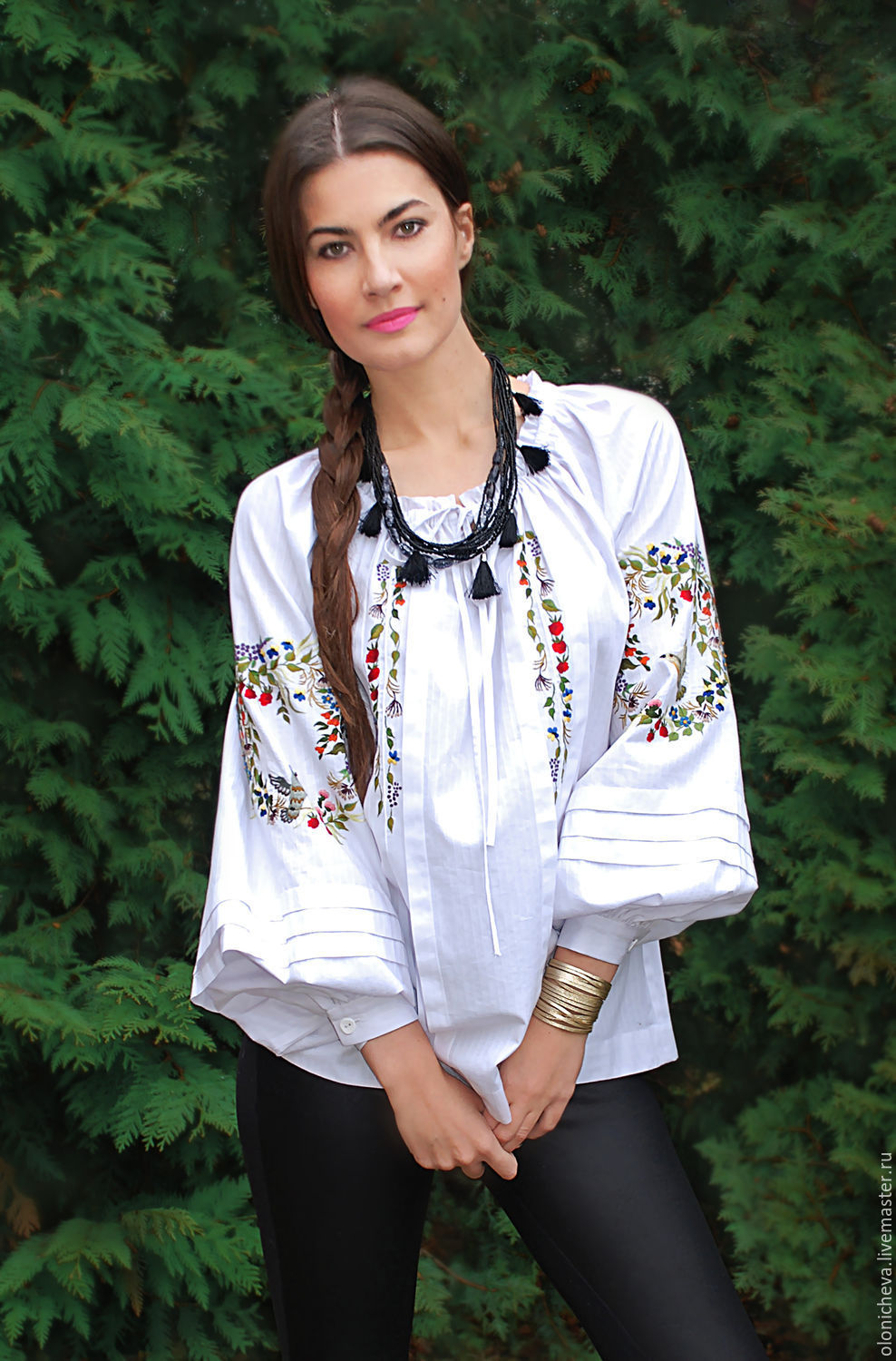 121d4728af389 Embroidered white blouse  Bird land  hand embroidery. KVITKA. Online  Blouses handmade.