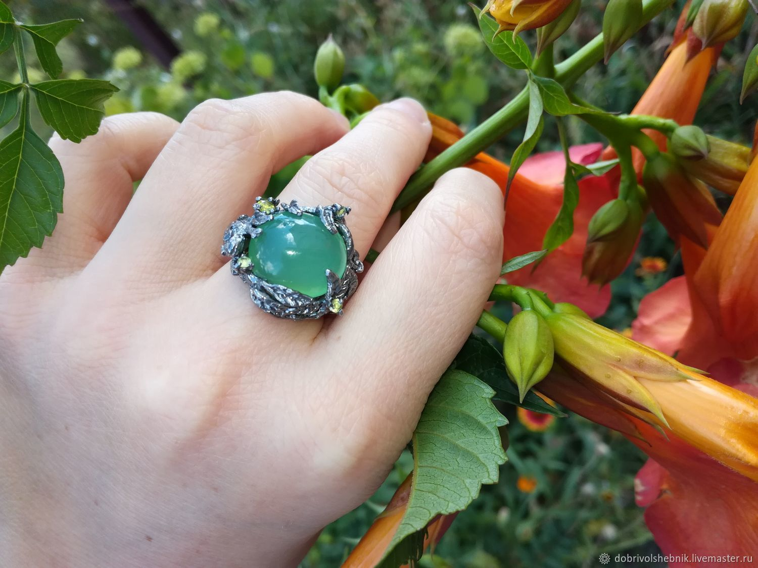Ring 'Green forest' with chrysoprase and chrysolites, Rings, Novaya Usman,  Фото №1