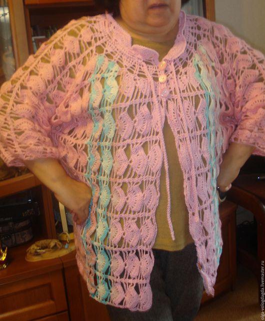 Кофты и свитера ручной работы. Ярмарка Мастеров - ручная работа. Купить кардиган розовый с бело-голубыми вертикальными полосами. Handmade.