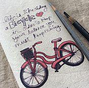"""Материалы для творчества ручной работы. Ярмарка Мастеров - ручная работа Купон лен """"Красный велосипед"""". Handmade."""