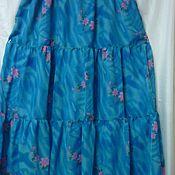 Одежда ручной работы. Ярмарка Мастеров - ручная работа Юбка из крепдешина Бирюзовая с Цветами длина 85 см. Handmade.