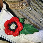 Цветы и флористика ручной работы. Ярмарка Мастеров - ручная работа Авторская брошь - цветок «Мак1». Handmade.