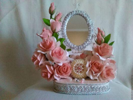 Букеты ручной работы. Ярмарка Мастеров - ручная работа. Купить Зеркало в стиле рококо. Handmade. Бледно-розовый, цветы