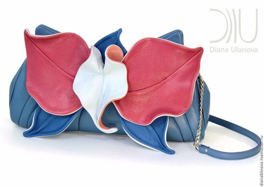 Женские сумки ручной работы. Ярмарка Мастеров - ручная работа. Купить клатч Орхидея синяя. Handmade. Разноцветный, натуральная кожа