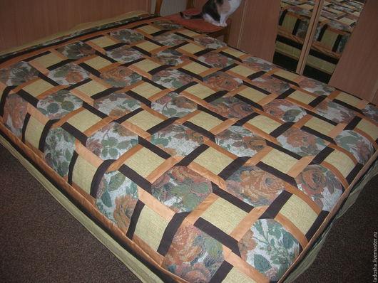 Текстиль, ковры ручной работы. Ярмарка Мастеров - ручная работа. Купить лоскутное покрывало Тепло дома. Handmade. Золотой, сатин
